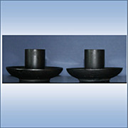 Pair of Vintage Black Metal Candle Holders Japan