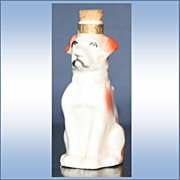 SALE German Figural Perfume White Dog With Red Spots Marked IILAC