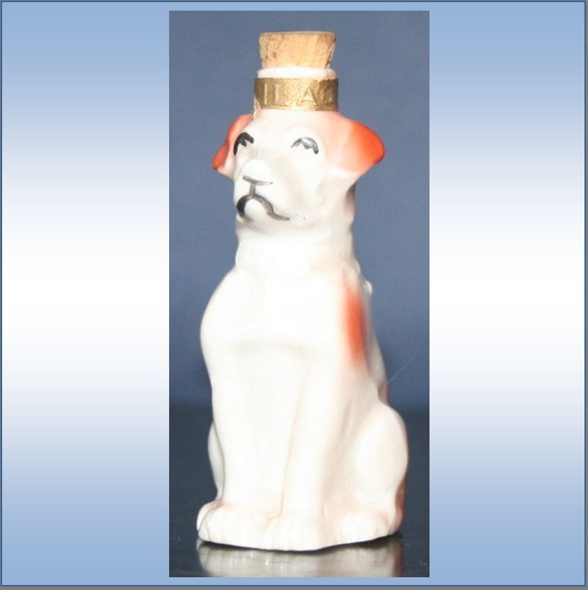 German Figural Perfume White Dog With Red Spots Marked IILAC