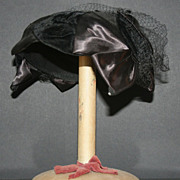 Vintage Black Satin and Velvet Headband  Hat