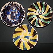 Set of 3 Vintage Colorful Mexico Pottery Bowls