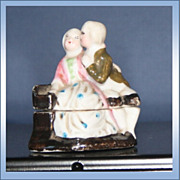 Vintage Courting Couple Porcelain Pill box Signed