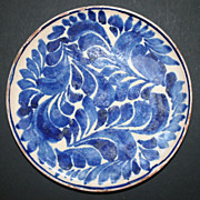 Vintage Blue and White Oaxaca Mexico Plate