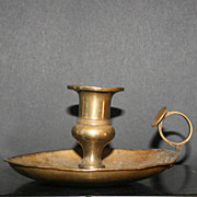SOLD Solid Brass Thumb Rest Candle Holder
