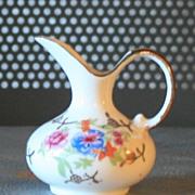 SOLD Vintage Miniature Pitcher white, porcelain colorful spray of flowers, gold handle, gold f