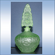 SALE Irice Czechoslovakia Perfume Bottles Green Floral Stopper