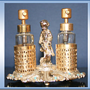 SALE Two Scent Bottles On Silver Plate Stand With Cherub And Turquoise Color Stones