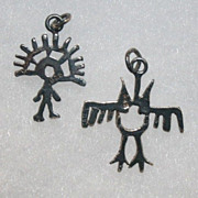 2 Sterling Silver Charms, Owl and Man Petroglyphs