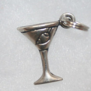 Martini Glass with Olive Silver Tone Charm