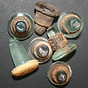 6 Green Glass Bottle Stoppers with Cork Still Attached & Cordon & Co. London with Metal Top