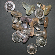15 Vintage Clear Glass Button Style Apothecary or Condiment Bottle Stoppers