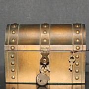 Vintage Heavy Metal Treasure Chest Bija Inc. NY U.S.A. Original Lock and Key
