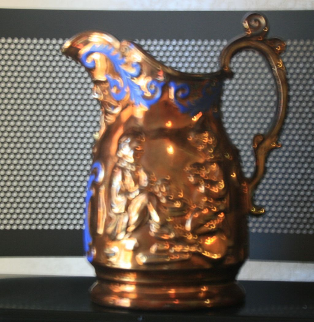 late 1800s Antique English Staffordshire Copper Luster Pitcher Tankard