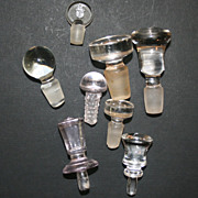 9 Clear Glass And Crystal Vintage Stoppers Varied Sizes