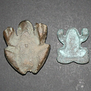 2 Cast Iron Vintage Frog Paperweights