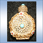 SALE Vintage Miniature Filigree Perfume with hinged Mirror