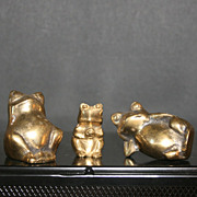 3 Brass Frog Paperweight Figurines