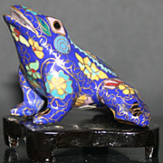 Vintage Cloisonn� Frog on Wood Stand
