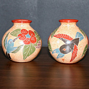 Set of 2 Costa Rica Carved Vase with Birds