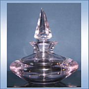 Vintage Oneida Lead Crystal Round Perfume Bottle Pink With 6 Sided Stopper