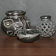 Set of 3 Black on Black Carved Mexican Vases / Pots1 Signed Y R