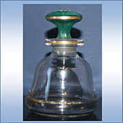 Vintage Bell Shaped Cologne Bottle With Hand Painted Button Form Stopper
