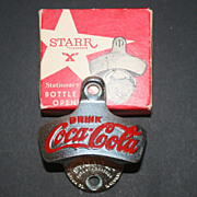 Vintage Starr Stationary Bottle Opener with Coke Cola in Original Box