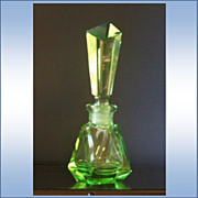 REDUCED Emerald Glass Six Sided Perfume With Solid Cut Glass Stopper