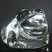 Set of 2 Crystal Frog Paperweights, one with label Grynnen Barrett