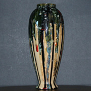 Glazed Earth Tone Tall Porcelain Vase