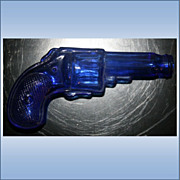 Vintage Cobalt Blue Glass Gun Pistol Shaped Candy Holder
