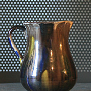 Vintage Hand thrown pitcher, Mexico 1920s Brown with drips of blue and yellow