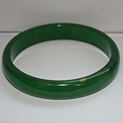 Vintage Green Marbled Bakelite Bangle