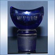 SALE Vintage Glass Eye Wash / Bath Cup Cobalt Blue Collyrium Bottle Cap
