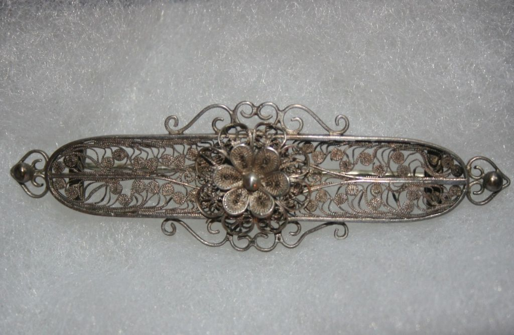 Vintage Sterling Silver Filigree Bar Pin