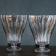 2 Crystal Footed Candle Holders Vase