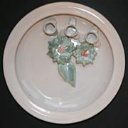 Signed Candace Young Bay River Pottery Flower Frog Large Platter