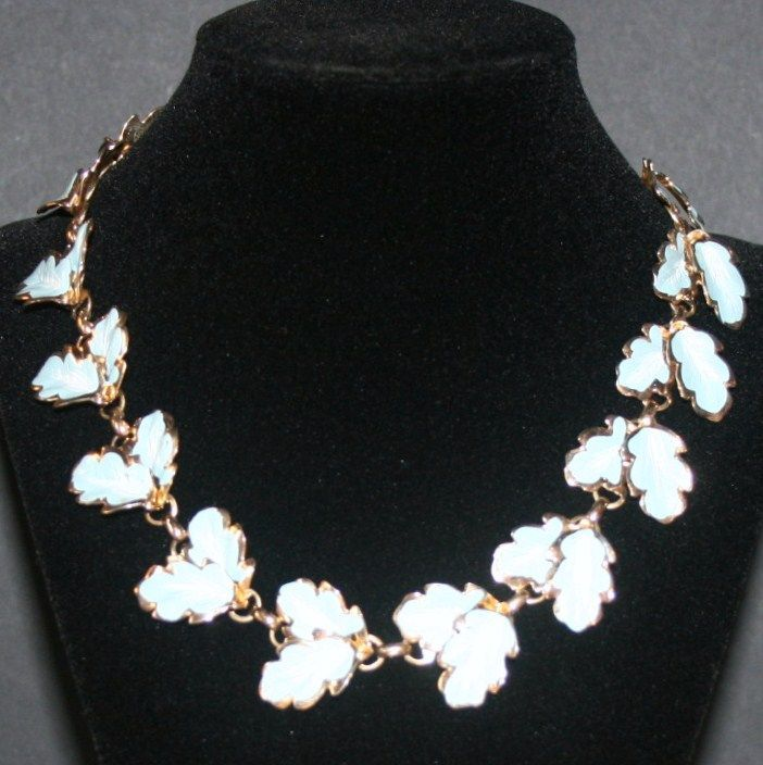 Blue And Gold Tone Leaf Enamel Necklace