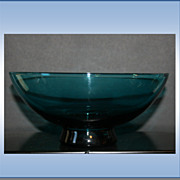 Azure Blue Footed Blown Glass Fruit Bowl