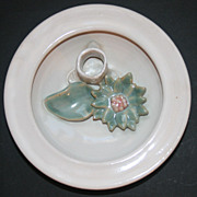 Signed Candace Young Bay River Pottery Flower Frog Small Platter