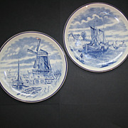 2 Vintage Delfts by Boch Belgium Blue Wear Decorative Plates
