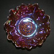 Iridescent Gold Glass Daisy Pattern Bowl