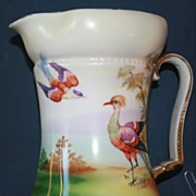 SALE Large Vintage Royal Bayreuth Pitcher Bird Scene