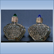 Set Of 2 Filigree Covered Miniature Perfume Bottle With Crystals On Top