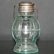 Vintage Lantern Salt Shaker , Green Glass