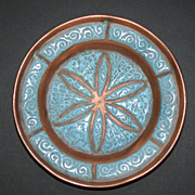 Brass and Turquoise Enamel Flower Tray