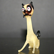 SOLD Vintage Blown Glass Siamese Cat Figurine