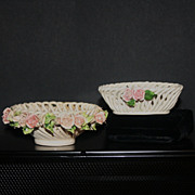 2 Vintage Capodimonte Handled Woven Basket with Roses