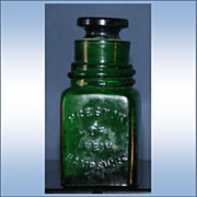 Vintage Preston of New Hampshire Emerald Green Smelling Salts Bottle with Stopper
