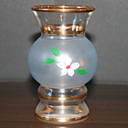 Blown Glass Vase with Hand Painted Flower and Gold Trim